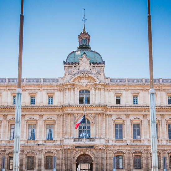 The prefecture building of the Bouches-du-Rhône department, in Marseille on a perfect cloudless day.
