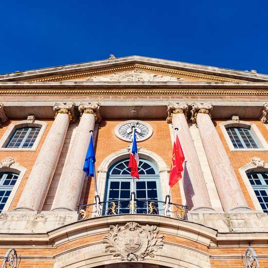 Capitole de Toulouse seen afternoon.  Toulouse, Occitanie, France.